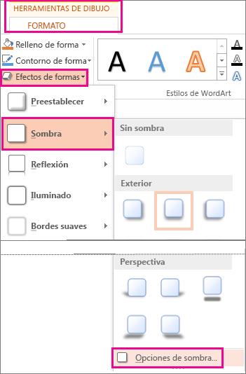 Opciones de sombra que aparecen al hacer clic en la pestaña Formato de herramientas de dibujo, Efectos de sombra y Sombra