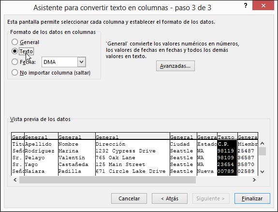 La opción de texto de Formato de los datos en columnas está resaltada en el Asistente para importar texto.