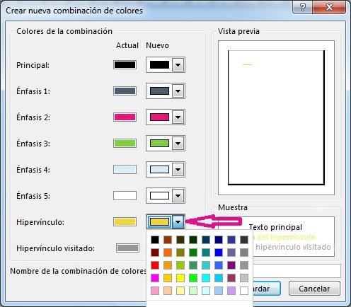 Crear una nueva combinación de colores de Publisher para cambiar los colores de hipervínculos