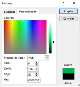 Muestra colores personalizados