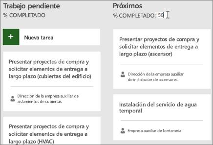 Captura de pantalla del Panel de tareas, con el cursor introduciendo el número 50 para el porcentaje completado