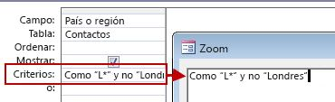 Imagen de diseño de consulta usando SIN con Y SIN seguido del texto que se debe excluir de la búsqueda