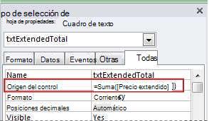 Una expresión en la propiedad Origen del control de un cuadro de texto.