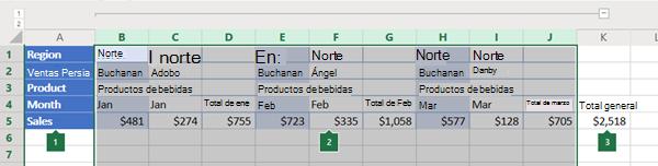 Esquema de columnas en Excel online