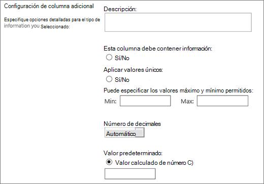 Opciones para la columna numérica