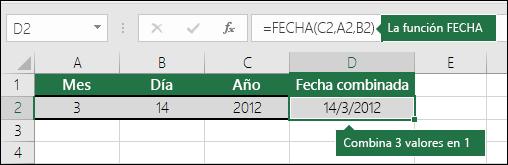 Ejemplo 2 de la función FECHA