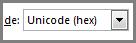 Unicode (hex) seleccionado en el cuadro Símbolo