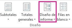 Botón Diseño de informe en la pestaña Diseño
