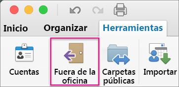 En la pestaña Herramientas, haga clic en Fuera de la oficina.