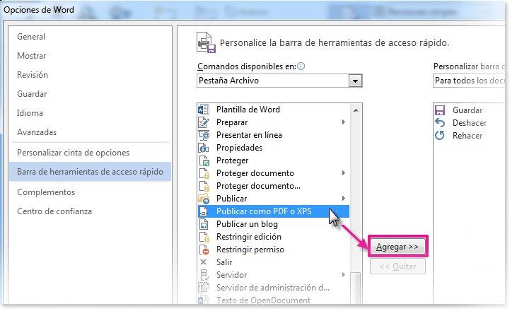 Agregar comando para personalizar la barra de herramientas de acceso rápido
