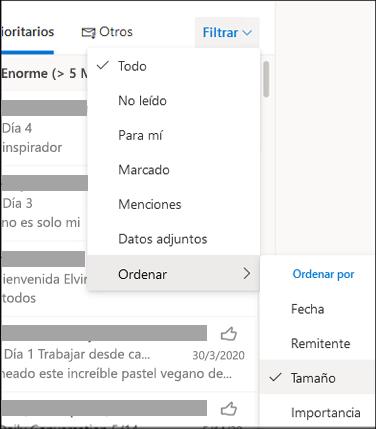 Captura de pantalla del menú Filtro con Ordenar por seleccionado
