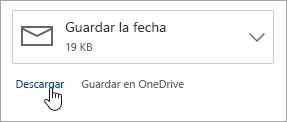 Una captura de pantalla del botón Descargar debajo de un archivo adjunto