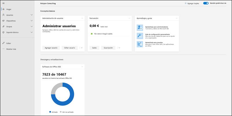 Captura de pantalla: página de inicio de vista previa del centro de administración de Microsoft 365.
