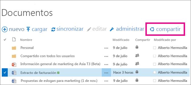 Compartir archivos en una biblioteca de sitio