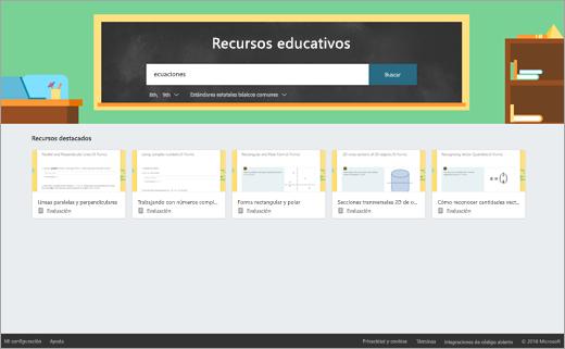 Cuadro de búsqueda de recursos de educación