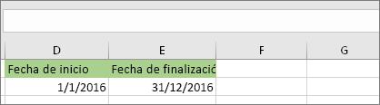 La fecha de inicio en la celda D53 es 1/1/2016, la fecha de finalización en la celda E53 es 31/12/2016