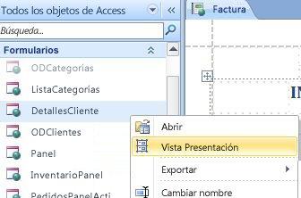abrir un informe o formulario web en vista Presentación