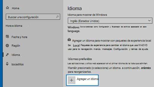 Configuración del idioma en Windows 10