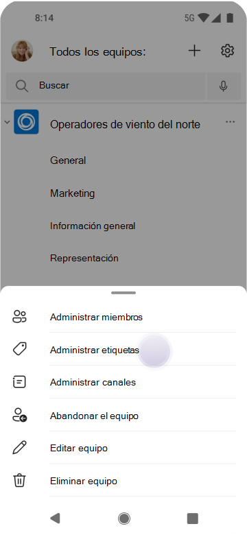 Administrar etiquetas en Teams con Android
