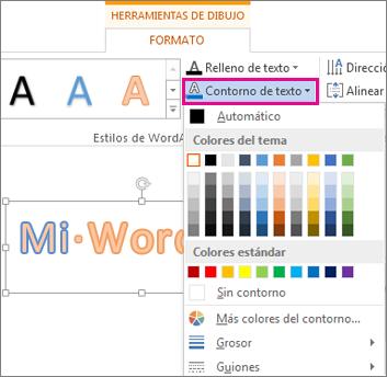 La galería Color de contorno de texto se encuentra en la ficha Formato de herramientas de dibujo