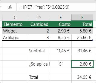 """La fórmula de la celda F7 es SI(E7=""""Sí"""";F5*0,0825,0)"""