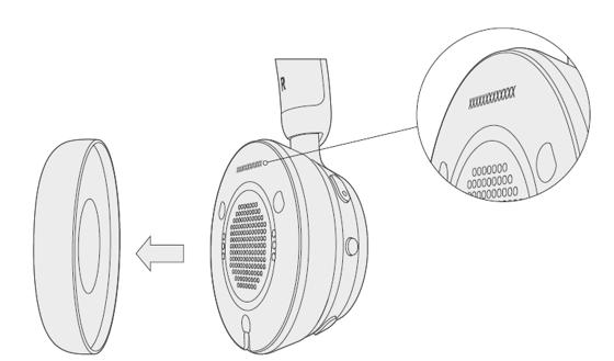 Auriculares inalámbricos modernos de Microsoft con almohadilla quitada
