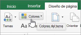 Botón de colores de tema en la ficha Diseño