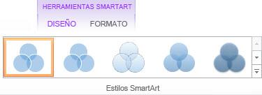 Grupo Estilos SmartArt de la pestaña Diseño de Herramientas de SmartArt