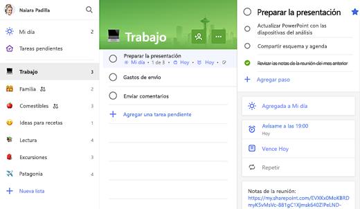 Captura de pantalla de una lista de trabajo con la preparación de la presentación abierta en la vista de detalles