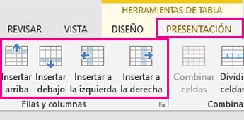 Imagen de las opciones de diseño para agregar filas y columnas en tablas