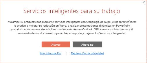Cuadro de diálogo Participación de Servicios inteligentes de Office