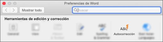 La sección herramientas de creación y corrección de preferencias de Word, con la característica Autocorrección resaltada.