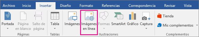 El icono de imágenes en línea está resaltado en la pestaña Insertar