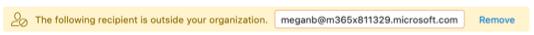 Sugerencia de correo electrónico de destinatario externo