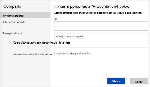 Invitar a personas a una presentación