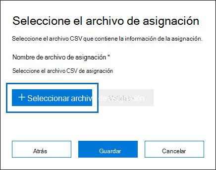 Haga clic en archivo de asignación de selección para enviar el archivo CSV que creó para el trabajo de importación