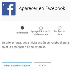 Captura de pantalla: Escriba la dirección de correo electrónico y la contraseña asociadas a la cuenta de empresa de Facebook.