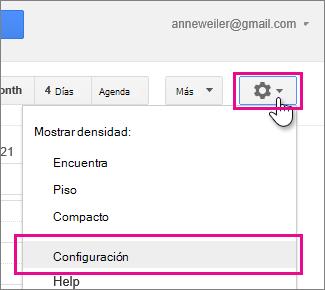 google calendar - configuración - configuración