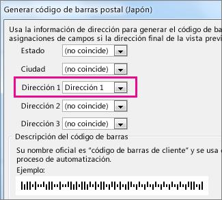 Campos del cuadro Generar código de barras postal