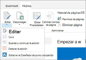 Mostrar de la cinta de opciones de página botones deshabilitados