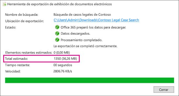 Resultados estimados en la herramienta de exportación de exhibición de documentos electrónicos