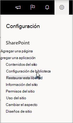 Vaya a Configuración, Configuración de biblioteca