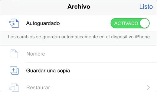 Toque en Archivo y, a continuación, en Duplicar para guardar un documento con otro nombre