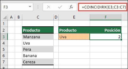 Ejemplo de uso de COINCIDIRX para buscar la posición de un elemento en una lista