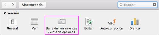 Personalice la barra de herramientas de la cinta de opciones.