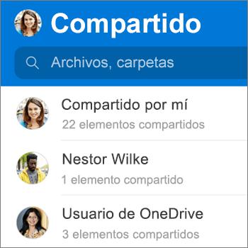 Vista Archivos compartidos en la aplicación de OneDrive para Android