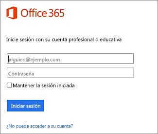 Página Iniciar sesión de portal.office.com