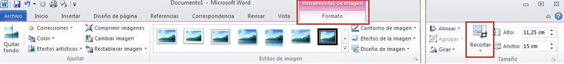 Comando de recortar de la ficha de formato de herramientas de imágenes de la cinta de opciones