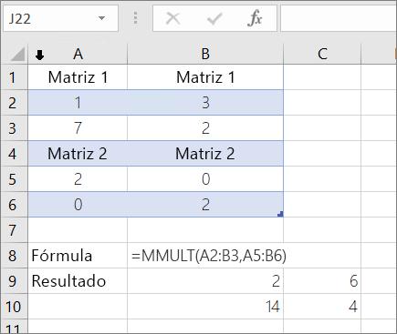 Función MMULT: Ejemplo 1