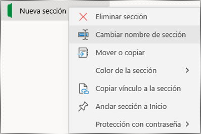 Captura de pantalla del menú contextual para cambiar el nombre de una pestaña de sección en OneNote para Windows 10.